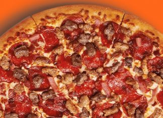 image of half Little Caesars 5 Meat Feast Pizza